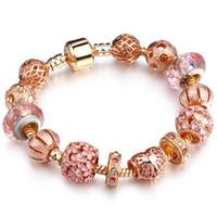 pulseiras de ouro para namorada venda por atacado-Alta qualidade rose gold pandora pulseiras encantos europeus diy bangle pulseiras mulheres presente para amantes namoradas