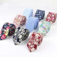 Wholesale artificial diamond flowers - Wholesale- Mens Fashion Necktie Casual Diamond Check Artificial Cotton Flower Roes Bow Tie Paisley Skinny Ties Men Small Designer Cravat