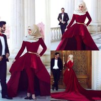 Wholesale fashion dress collection - 2016 Red Carpet Dresses Arabia Said Mhamad High Neck Hi Lo Velvet Long Sleeves Ball Gown Evening Gowns Pants Prom Dress New Collection