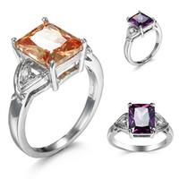 ametist altın düğün yüzüğü toptan satış-10 adet Benzersiz Yılbaşı Hediyeleri Yangın Morganit Ametist Kübik Zirkonya Kristal Taş Rusya 925 Ayar Gümüş Siyah Altın Alyans