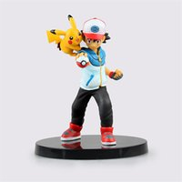 Wholesale 14CM Poke Anime Pikachu Action Figures Cartoon PVC Statue Figure Toy Japanese Anime Figure Ash Pikachu Toys