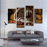 cam resim duvar sanatı toptan satış-Amosi Art-4 Parça Ile Şarap Ve Meyve Cam Ve Varil Duvar sanat Boyama Resim Tuval Üzerine Baskı Ile Ev Dekorasyon Için Ahşap Çerçeveli