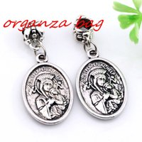 MIC 100pcs Antique Silver Alloy Nossa Senhora do Perpétuo Ajuda com a Medalha de Saint Gerard Dangle Bead Fit Charm Bracelet 16X 37.5MM DIY Jewelry