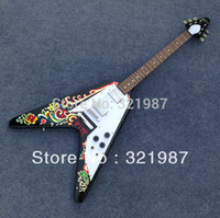 Wholesale Electric Guitar Rosewood - Wholesale-New Arrival!!Jimi Hendrix Psychedelic 1967 Flying V Electric Guitar Free shipping