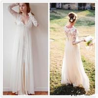 Wholesale Lace Empire Sleeve Wedding Dress - New Bohemian Wedding Gowns 2016 Sheath Chiffon Boho Wedding Dresses V Neck Transparent Lace Long Sleeve Beach Empire Maternity Formal Dress