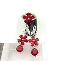 Red Gems Flower Style Topaz Conjuntos de jóias para mulheres Sterling Silver 925 Drop Earrings / Ring Sizes 7/8/9 Free Jewelry A0026