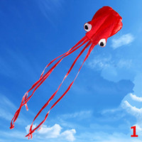 Wholesale Long Kite - 2017 Beautiful Large Easy Flyer Mollusc Octopus 31 Inches Wide Long Tail Kite Kids boy and girls gift free shipping