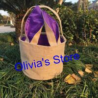 Wholesale Bucket Ears - New 2018 trending decorations easter egg basket bag bunny ears burlap bucket personalized monogrammed kids Easter tote bags