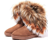 Wholesale Size Black Wedge Shoe - Fashion Fox Fur Warm Autumn Winter Wedges Snow Women Boots Shoes GenuineI Mitation Lady Short Boots Casual Long Snow Shoes size 36-40
