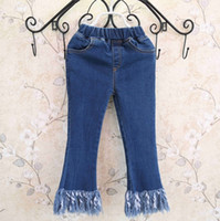 Wholesale Korean Jeans Wholesale - Korean New Arrival spring clothing Girls Jeans tassels boot cut Denim Blue Jeans Children Trouser kids Casual pants Toddler Clothes