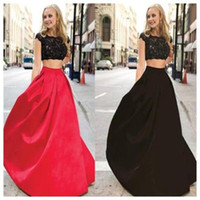 Wholesale Affordable Black Ball Gowns - Lastest Look of the New Style 2107 Two Pieces Lace Mismatched Ball Gown Affordable Red Black Evening Prom Dress