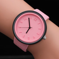 Wholesale Analog Stereo - Brand luxury Watches For Women Stereo Digital Simple Canvas PU Leather Number Quartz Wrist Watch relogio feminino 2018 New reloj