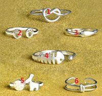 2017 chapeamento de vendas quente 6 estilos 925 Pés de prata esterlina Love Fish Snowflake Deer Anéis de abertura encantadora Beautiful Cute lovely ring 10pcs