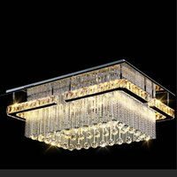 Wholesale Modern Ceiling Light Rectangular - NEW modern luxury Pandant light rectangular LED K9 crysal chandelier ceiling mounted crystal fixutres foyer chandeliers for living room