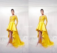 Wholesale Modest Gowns For Girls - Yellow Short Front Long Back Homecoming Dresses With Illusion Long Sleeves Modest 2017 Applique High Low Prom Party Gowns For Girls