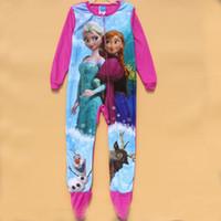 Wholesale Wholesale Childrens Pyjamas - Princess Girl Girls Childrens kids long sleeve Winter Spring FLEECE onesie romper jumpsuit pajamas sleepwear Pyjamas onesis
