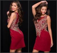 Wholesale Short Sheath Bling Dresses - Homecoming Dressed Short Red Celebrite Sheath Design Jewel Neck Crystals Bling Dress Sleeveless Short Mini Prom Dresses Homecoming Dressed