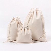 Wholesale drawstring gift favor bag - Canvas Drawstring Bags 100% Natural Cotton Storage Bags Laundry Favor Holder Fashion Jewelry Pouches Gift bags Large 24x32cm
