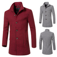 Wholesale Men Outdoor Trench Coat - Fall-JJ Winter Fashion Warm Houndstooth trench Men's Woolen Coats Middle-Long Jackets Coats Mens Outdoor Overcoat turn-down collar WC