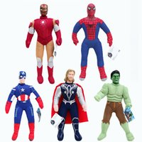 Wholesale iron man baby - New arrival 5 Style 25cm The Avengers Captain America Spider-man Thor Iron man Hulk Plush Doll Stuffed Toy For Baby Gift