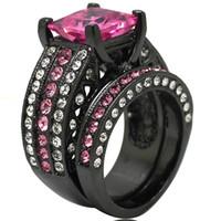 ingrosso anelli di taglio di principessa nera diamante-Taglia 5-11 Black Wedding Engagement Ring Princess Cut Topaz Rubino Diamante Crystal Gemstone Two-in-One Propose Wedding Halo Jewelry