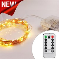 Wholesale mode keys - 5M 50 LED 10M 100 LED 8 Modes String Light with 13 keys Remote Control Battery Operated Copper Wire LED String Wedding Christmas Party Light