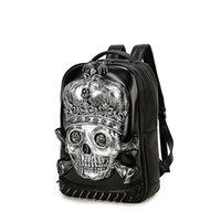Wholesale Trade Backpack - Pu Backpack 3D Skull Men's Portable Bag Student Bag Trade Backpack