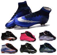Wholesale Cheap Ronaldo Football Boots - 2016 Mens Mercurial Superfly CR7 FG Boys Soccer Shoes Ronaldo Football Cleats Cheap Girls 100% Original Football Shoes Womens Soccer Boots