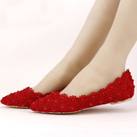 Wholesale Beautiful Ballet Flats - Flat Heels Pearl and Lace Flower Bridal Shoes Pointed Toe Wedding Party Dancing Shoes Beautiful Bridesmaid Shoes Women Flats