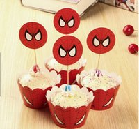 Red Spider-Man Papier Cupcake Wrapper Cup Kuchen Toppers für Kinder Geburtstag Dekoration Favor Baby Shower Party Supplies