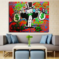 Wholesale Painted Canvas Purses - Framed Alec Monopoly Purse Modern Abstract art Wall Decor Handcraft Graffiti Art oil painting High Quality Canvas Multi sizes