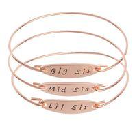 armband mitte großhandel-New Big Mid Lil Sis Brief Charm Armband Drei Schwestern Familie DIY Draht Armreif Armbänder Für Perlen Oder Charme