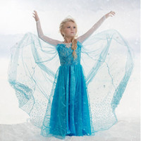Wholesale Dress Mid - Samgami baby elsa frozen fever dress blue snowflake dress long cape dress elsa queen costume free shipping in stock