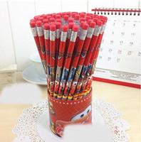 Wholesale Packaging Eraser - 36pieces lot car pencils with eraser cute rubber pencils wholesale school stationary set bulk package gift for pupils