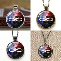 unendliche ohrringe großhandel-10pcs Infinity Galaxy Anhänger Romant Love Anhänger Glas Halskette Schlüsselanhänger Lesezeichen Manschettenknopf Ohrring Armband