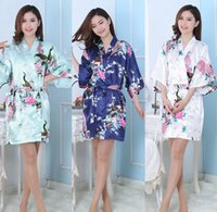 Wholesale short nightgowns for women - Silk Satin Wedding Bride Bridesmaid Robe Floral Bathrobe Short Kimono Robe Night Robe Bath Robe Fashion Dressing Gown For Women LC413-1