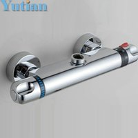 Wholesale Wall Mount Round Handle - Free Shipping Wall Mounted Two Handle Thermostatic Shower Faucet Thermostatic Mixer , Shower Taps Chrome Finish,YT-5301