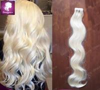 Wholesale Tape For Human Hair Extensions - Beautiful European virgin remy human #60 Platinum blonde tape hair extensions double sided for black woman