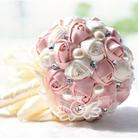 Wholesale Chinese Hand Cream - Top quality Cream Pink Elegant hand made decorative Artificial Silk Rose flower Bride Bridal Crystal Wedding Bouquets WF005