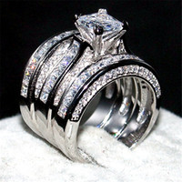 Wholesale Topaz Ring Princess Cut - Luxury Jewelry 14KT white gold filled Wedding Ring finger For Women 3-in-1 20ct 7*7mm Princess-cut Topaz Gemstone Rings Set Size 5-10