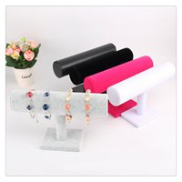 Wholesale acrylic bangle stand - Cosmetic Organizer Display Stand Organizador Black Velvet Bracelet Bangle Chain Watch T-bar Rack Jewelry Display Stand Holder Free DHL