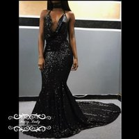 Shiny Black Sequined Kleider Abend Abnutzung 2017 Sexy Backless Halter Meerjungfrau Plus Size Frauen Long Runway Ballkleid Formal Gowns