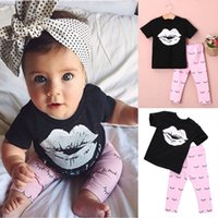 Wholesale Girls Shirts Lips - INS Hot Selling Children Summer New Designs Girl Clothes Sets Lip T-shirt +Full Eyelash Print Pants Two Piece Sets
