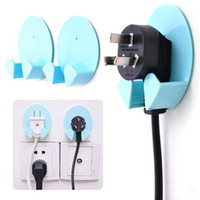 Vente en gros - 2PCS Power Plug Socket Jack Hook Rack Holder Hanger Home Wall Decor Organizer