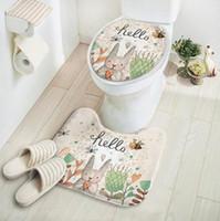 Wholesale Cut Bathroom Carpet - 2pcs set New Cut Cartoon Rabbit Animal Pattern Bathroom Set Carpet Absorbent Non-Slip Pedestal Rug Lid Toilet Cover Bath Mat