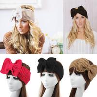 saç bandı baş bandı yetişkinler toptan satış-Bayan Tığ Bantlar Kış Sonbahar Örgü Büyük Kelebek Bantlar Yetişkin Bayan Örgü headwrap kış saç Streç Saç Bantları