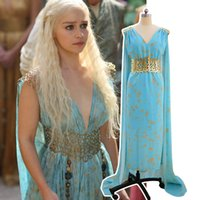 Wholesale Dotted Cape - Game of Thrones Daenerys Targaryen Cosplay Costume Dragon Women Sleeveless Blue Dress with Cape Women Girls Halloween Party desses