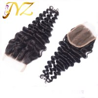 "Wholesale Deep Wave Middle Part Closure - Cheap Virgin Brazilian Deep Wave 4""x4"" Lace Closure Peruvian Malaysian Indian Free Middle 3 Part deep wave swiss Lace Closure Bleached Knots"