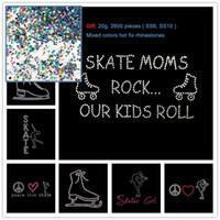 Wholesale Rhinestone Transfers Kids - 2pcs Skate Moms Rock Our Kids Roll Skate Girl Iron On Rhinestone Transfer Hot fix Applique Hotfix Motif