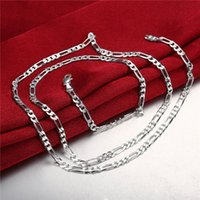 Wholesale Rhinestone Chain 4mm - Christmas gift 4MM men's necklace ' sterling silver necklace STSN102,wholesale fashion 925 silver Chains necklace factory direct sale